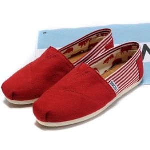 Toms Classic Red Striped Slip On Flat